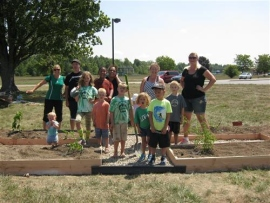 Parents and Students gardening